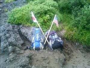 Two Packs on Mt. Fuji in Japan