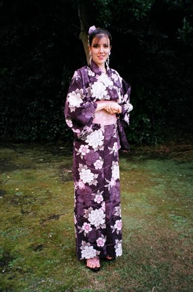 Purple Cotton Kimono, Purple Yukata